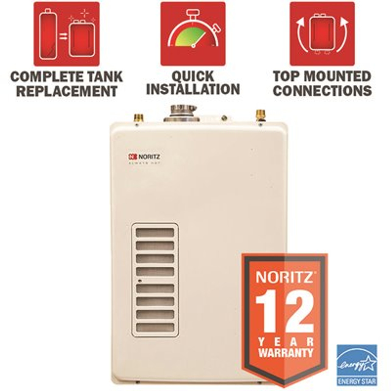 NORITZ EZTR40 40 Gal Tank Replacement Min 0.5 GPM Max 6.6 GPM High Efficiency Natural Gas Tankless Water Heater Kit