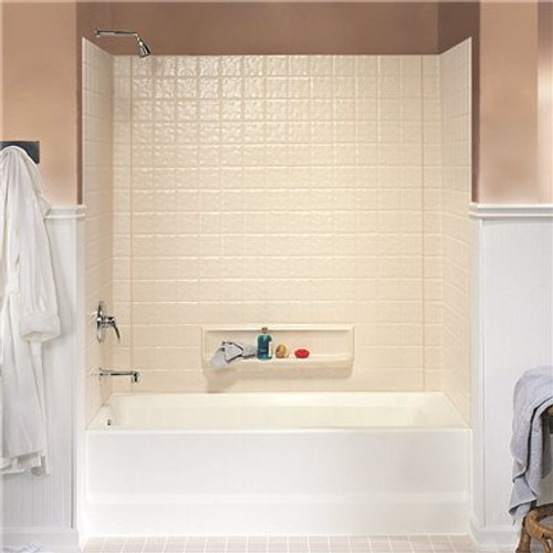 Swan 30 in. x 60 in. x 59.6 in. 3-Piece Square Tile Easy Up Adhesive Alcove Tub Surround in White Item # 2475668|Swan Part # TI-3-010|UPC Code 671037035473|UNSPSC Code 30181507