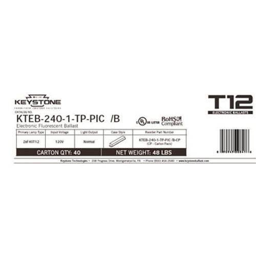 Keystone Technologies Keystone T12 4 ft. 40-Watt 2-Lamp Rapid Start Electronic Fluorescent Replacement Ballast Item # 645595|Keystone Technologies Part # KTEB-240-1-TP-PIC /B|UPC Code 890949008416|UNSPSC Code 39101901