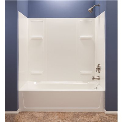 MUSTEE Durawall 30 in. x 60 in. x 55 in. 5 Piece Easy Up Adhesive Alcove Tub Surround in White Item # 3557744|MUSTEE Part # 950|UPC Code 671031002358