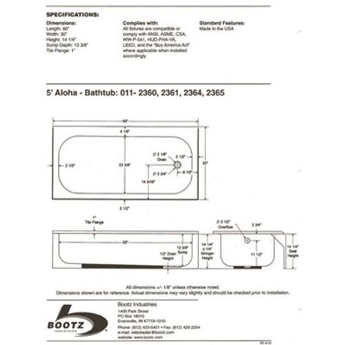Bootz Industries Aloha 60 in. Left Drain Rectangular Alcove Soaking Bathtub in White Item # 314614191|Bootz Industries Part # 011-3365-00|UPC Code 008792113007