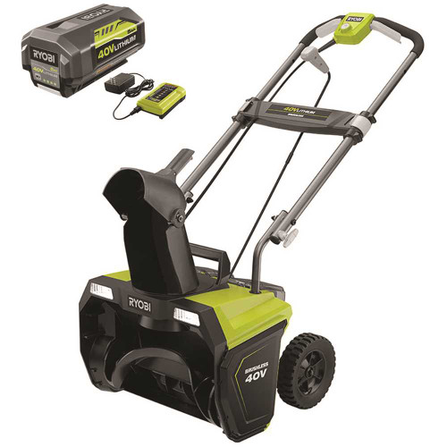 RYOBI 40V Brushless 20 in. Cordless Electric Single Stage Snow Blower with 5.0 Ah Battery and Charger - Item # 305298970, RYOBI Part # RY40850, UPC Code 046396023346