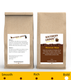 Front and Back of Mountain Magic Stomach Friendly Coffee Bag