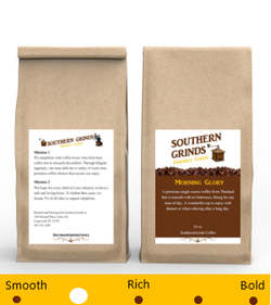 Morning Glory Premium Coffee Bag front and back with meter
