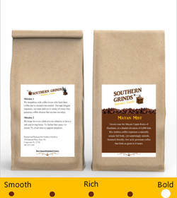 Front and back of coffee bag with labels on both sides