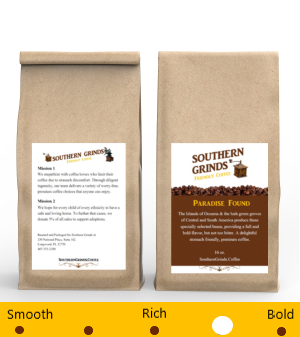 Front and Back of Paradise Found Stomach Friendly Coffee Bag
