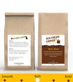 Front and Back of Ridge Roast Stomach Friendly Coffee Bag