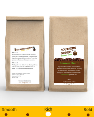 Front and back Image of Midnight Breeze coffee bag. The best decaf coffee on the planet.