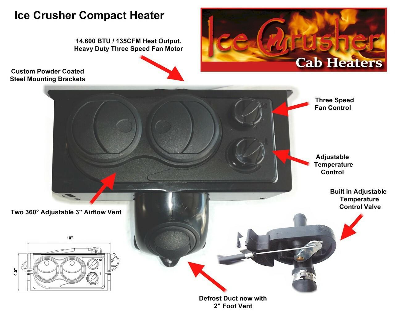 Ice Crusher Compact Polaris Ranger Midsize 2010-2014 400/500/570/800 and Midsize 500/800 Crew Cab Heater Kit