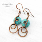 turquoise coiled wire wrapped earrings by Pillar of Salt Studio