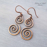 solid copper wire wrapped earrings handmade jewelry by Pillar of Salt Studio