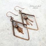 Diamond-shaped wire wrapped copper fringe earrings by Pillar of Salt Studio