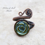 blue hematine rose adjustable copper wire wrapped ring by Pillar of Salt Studio