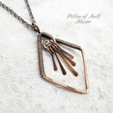 Diamond-shaped wire wrapped copper fringe necklace by Pillar of Salt Studio