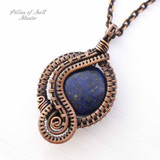 Lapis Lazuli woven copper wire wrapped pendant by Pillar of Salt Studio