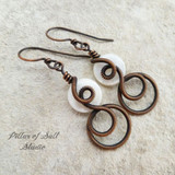 white mother of pearl coiled copper wire wrapped earrings by Pillar of Salt Studio