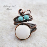 white and turquoise magnesite adjustable copper wire wrapped ring by Pillar of Salt Studio