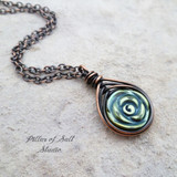 blue-green hematine rose herringbone copper wire wrapped pendant Pillar of Salt Studio