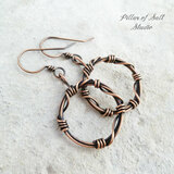 barbed wire circle copper wire wrapped earrings by Pillar of Salt Studio