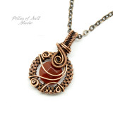 copper wire wrapped pendant with Carnelian gemstone by Pillar of Salt Studio