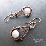 white quartz copper wire wrapped earrings by Pillar of Salt Studio