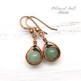 green aventurine earrings copper jewelry by Pillar of Salt Studio