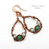 Green Aventurine and Amazonite wire wrapped copper earrings by Pillar of Salt Studio