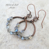 Labradorite copper earrings wire wrapped jewelry by Pillar of Salt Studio