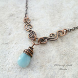 Amazonite gemstone teardrop wire wrapped necklace / Pillar of Salt Studio wire wrapped jewelry