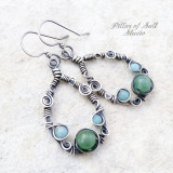 Sterling silver wire wrapped earrings with amazonite and green aventurine