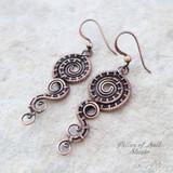 woven wire copper earrings