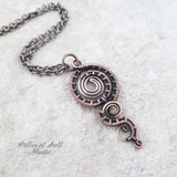woven wire copper pendant necklace