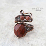 Red Poppy Jasper copper wire wrapped ring by Pillar of Salt Studio