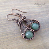 handcrafted woven wire copper earrings - earthy jewelry by Pillar of Salt Studio