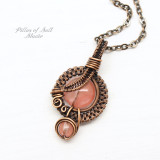 Cherry Quartz Glass Small Copper Woven Wire Wrapped Pendant Necklace