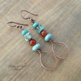 red & turquoise copper wire wrapped teardrop earrings by Pillar of Salt Studio