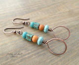 Stacked Teardrop Copper Earrings - Orange and Turquoise