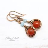 Carnelian and Amazonite copper earrings