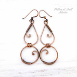 long copper earrings wire wrapped jewelry by Pillar of Salt Studio