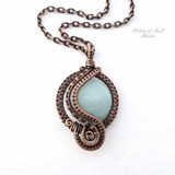 Amazonite woven copper wire wrapped pendant by Pillar of Salt Studio