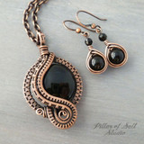 Black onyx wire wrapped jewelry pendant and earring set by Pillar of Salt Studio