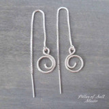 small spiral box chain threader earrings by Pillar of Salt Studio