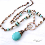 copper and magnesite stone necklace