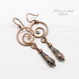 Leopardskin Jasper Copper Spiral Earrings