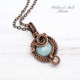 Amazonite copper woven wire wrapped pendant necklace by Pillar of Salt Studio