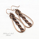 Copper woven wire earrings by Pillar of Salt Studio
