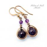 dark purple amethyst earrings copper jewelry