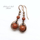 burnt orange red jasper copper wire wrapped earrings by Pillar of Salt Studio