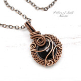 Black Onyx  & Copper woven wire pendant by Pillar of Salt Studio