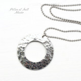 Hammered aluminum washer necklace with stainless steel chain